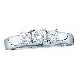 14kt White Gold  Diamond 3-stone Bridal Wedding Engagement Ring 1/4 Cttw