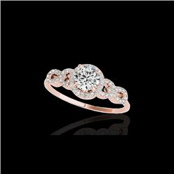 1.33 ctw Certified Diamond Solitaire Ring 10K Rose Gold