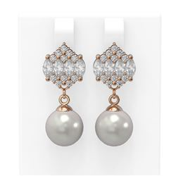 2.98 ctw Diamond and Pearl Earrings 18K Rose Gold