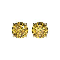 1.54 ctw Certified Intense Yellow Diamond Stud Earrings 10K Yellow Gold