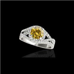 2 ctw Certified SI Fancy Intense Diamond Halo Ring 10K White Gold