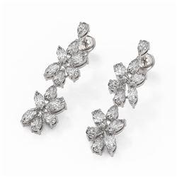 4.78 ctw Mix Cut Diamonds Designer Earrings 18K White Gold