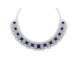 50.44 ctw Sapphire & VS Diamond Necklace 18K White Gold