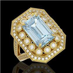 5.69 ctw Certified Aquamarine & Diamond Victorian Ring 14K Yellow Gold