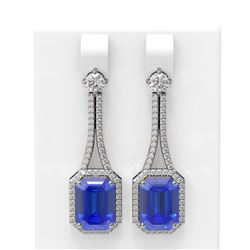10.57 ctw Tanzanite & Diamond Earrings 18K White Gold