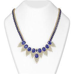 88.87 ctw Sapphire & Diamond Necklace 18K Yellow Gold