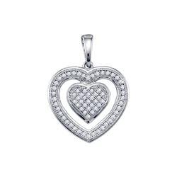 10kt White Gold Round Diamond Framed Double Heart Pendant 1/5 Cttw