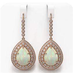 21.54 ctw Certified Opal & Diamond Victorian Earrings 14K Rose Gold