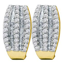 14kt Yellow Gold Round Baguette Diamond French-clip Hoop Earrings 1.00 Cttw