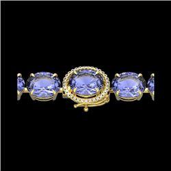 75 ctw Tanzanite & Micro VS/SI Diamond Bracelet 14K Yellow Gold