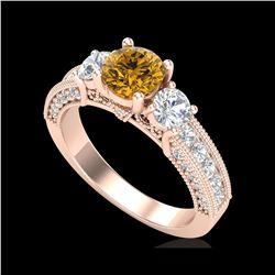 2.07 ctw Intense Fancy Yellow Diamond Art Deco Ring 18K Rose Gold