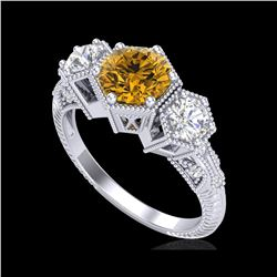 1.66 ctw Intense Fancy Yellow Diamond Art Deco Ring 18K White Gold