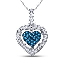 10kt White Gold Round Blue Color Enhanced Diamond Framed Heart Pendant 1/5 Cttw