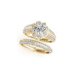 1.21 ctw Certified VS/SI Diamond 2pc Wedding Set Halo 14K Yellow Gold
