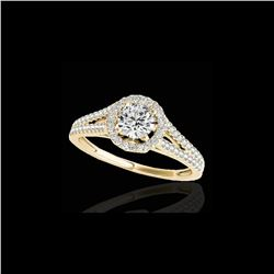 1.3 ctw Certified Diamond Solitaire Halo Ring 10K Yellow Gold