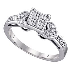 Sterling Silver Round Diamond Square Cluster Heart Ring 1/10 Cttw