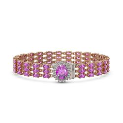 21.49 ctw Amethyst & Diamond Bracelet 14K Rose Gold