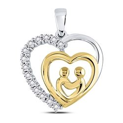 10kt Two-tone Gold Round Diamond Mom Mother Child Heart Pendant 1/20 Cttw
