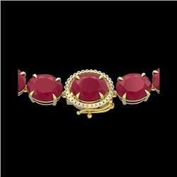 170 ctw Ruby & Diamond Micro Eternity Necklace 14K Yellow Gold