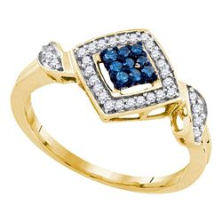 10kt Yellow Gold Round Blue Color Enhanced Diamond Diagonal Square Cluster Ring 1/4 Cttw