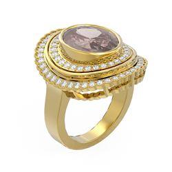 6.46 ctw Morganite & Diamond Ring 18K Yellow Gold