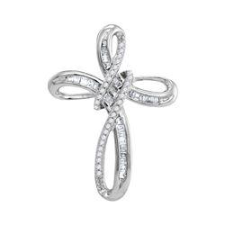 10kt White Gold Round Diamond Rounded Cross Faith Pendant 1/4 Cttw