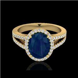 3 ctw Sapphire & Micro Pave VS/SI Diamond Halo Ring 18K Yellow Gold