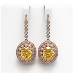 15.44 ctw Canary Citrine & Diamond Victorian Earrings 14K Rose Gold