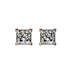 1 ctw Certified VS/SI Quality Princess Diamond Stud Earrings 10K Rose Gold