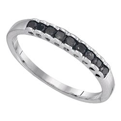 Sterling Silver Round Black Color Enhanced Diamond Single Row Band 1/4 Cttw