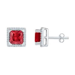 Sterling Silver Princess Lab-Created Ruby Stud Earrings 2.00 Cttw