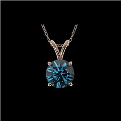 1.04 ctw Certified Intense Blue Diamond Necklace 10K Rose Gold