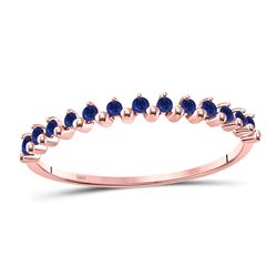 10kt Rose Gold Round Blue Sapphire Single Row Stackable Band Ring 1/8 Cttw