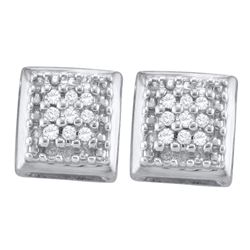Sterling Silver Round Diamond Square Cluster Screwback Earrings 1/10 Cttw
