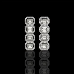 5.33 ctw Emerald Cut Diamond Micro Pave Earrings 18K White Gold