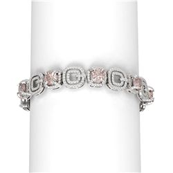22.5 ctw Morganite & Diamond Bracelet 18K White Gold