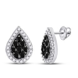 10kt White Gold Round Black Color Enhanced Diamond Teardrop Cluster Stud Earrings 1/2 Cttw
