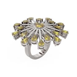 9.45 ctw Canary Citrine & Diamond Ring 18K White Gold