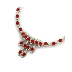 65.93 ctw Ruby & VS Diamond Necklace 18K Yellow Gold