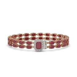 29.01 ctw Ruby & Diamond Bracelet 14K Rose Gold