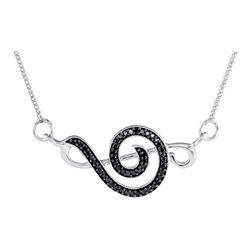 Sterling Silver Round Black Color Enhanced Diamond Treble Clef Fashion Pendant Necklace 1/8 Cttw