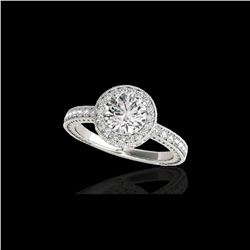 1.51 ctw Certified Diamond Solitaire Halo Ring 10K White Gold