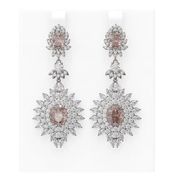 18.85 ctw Morganite & Diamond Earrings 18K White Gold