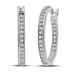 14kt White Gold Round Diamond Single Row Inside Outside Hoop Earrings 1/2 Cttw