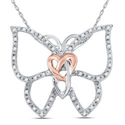 Sterling Silver Round Diamond Butterfly Bug Heart Pendant 1/10 Cttw