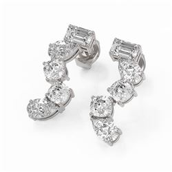 2.7 ctw Mix Cut Diamonds Designer Earrings 18K White Gold