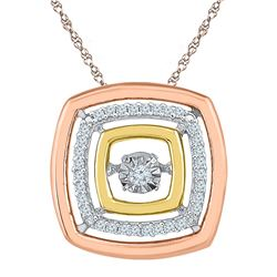 10kt Tri-Tone Gold Round Diamond Square Moving Twinkle Pendant 1/8 Cttw