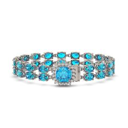 17.67 ctw Swiss Topaz & Diamond Bracelet 14K White Gold