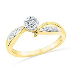 10kt Yellow Gold Round Diamond Cluster Bridal Wedding Engagement Ring 1/5 Cttw