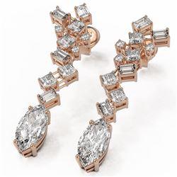 4 ctw Marquise Cut Diamond Designer Earrings 18K Rose Gold